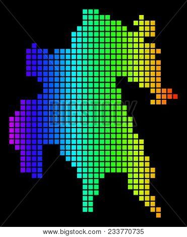 Spectrum Dotted Peloponnese Half-island Map. Vector Geographic Map In Bright Colors On A Black Backg
