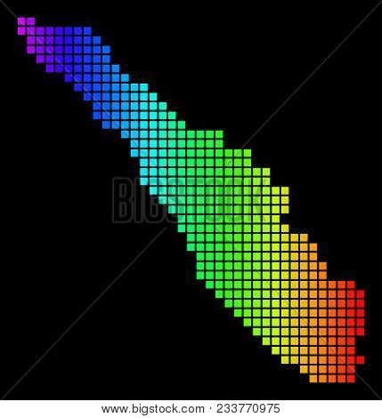 Spectrum Dotted Sumatra Island Map. Vector Geographic Map In Bright Colors On A Black Background. Co