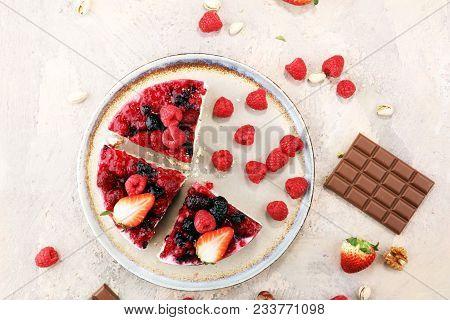 Raspberry Cake And Many Fresh Raspberries
