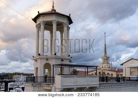 Sochi, Russia-october 30, 2017: Elegant Stone Rotunda On The Background Of The Seaport.