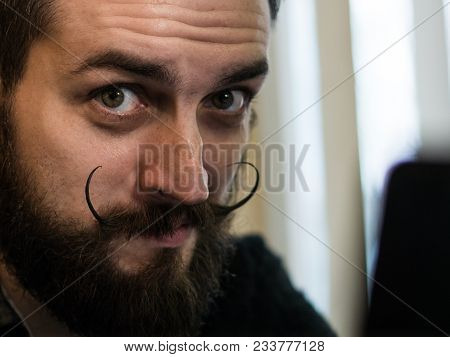 Modern, Expressive Bearded Office Clerk With Mustages Working With Notebook Laptop At Office And Hav