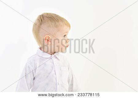 Child With Happy Face Isolated On White, White Party. Kid With Blonde Hair, Fashion. Childhood And H