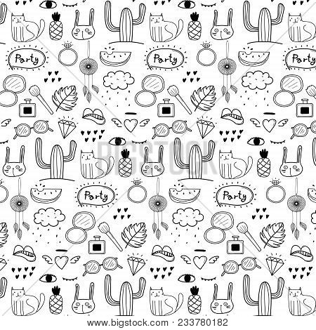 Pattern With Hand Drawn Doodle Lovely Party Background. Doodle Funny. Handmade Vector Illustration.