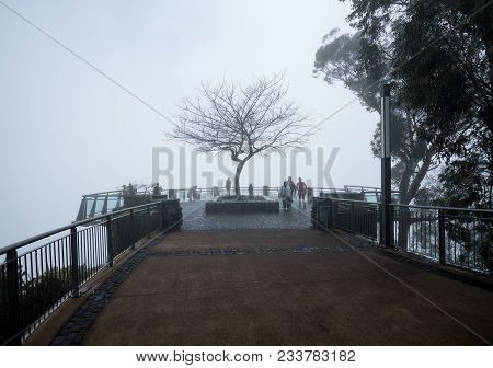 Funchal, Madiera - March 12, 2018: Tourists Lost In Mist At Cabo Girao Sea Cliff Near Funchal On Mad