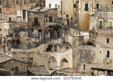 Characteristic Glimpse Of The Town Of Matera Unesco Heritage