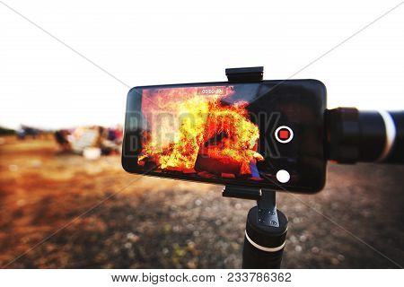 Mobile Smart Phone Taking Picture Festive Lag Baomer Bonfires In Rishon Le Zion, Israel