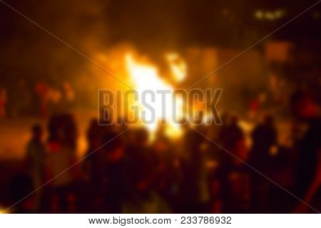 Abstract Blur Background. Festive Lag Baomer Bonfires In Israel
