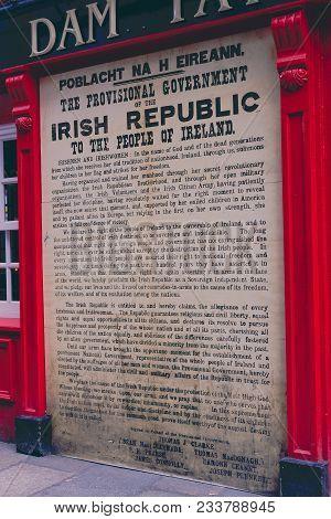 Dublin, Ireland - 28th March, 2018: Written Text Ooutside The Dam Tavern In Dame Lane In Dublin City