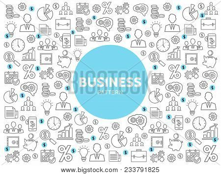 Linear Business Pattern With Finance Marketing Management And Economy Line Icons Vector Illustration