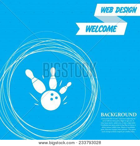 Bowling Game Round Ball Icon On A Blue Background With Abstract Circles Around And Place For Your Te