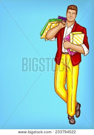 Vector Pop Art Pretty Fat Man With Shopping Bags. Obese Handsome Character In Suit, Red Jacket, Yell