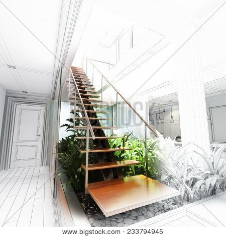 Sketch Design Of A Stair Hall With Atrium , 3d Rendering Wire Frame Concepts