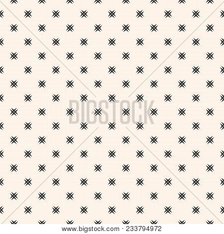 Ornamental Seamless Pattern With Small Cross Shapes, Stars. Abstract Monochrome Geometric Texture. B