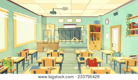 Vector School Classroom Interior. University, Educational Concept, Blackboard, Table, Chair College