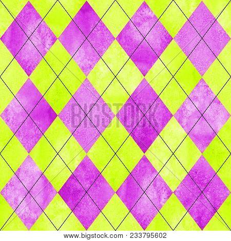 Argyle Seamless Plaid Pattern. Watercolor Hand Drawn Magenta Pink Lemon Yellow Texture Background. W