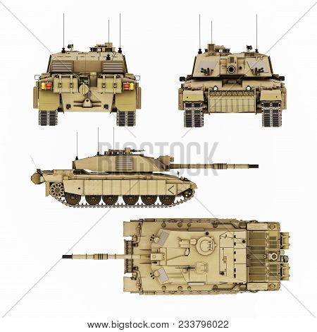 Military armored tank illustration with four views of detail. Top,side,front and back 8k resolution image. Generic photo realistic 3d rendering poster