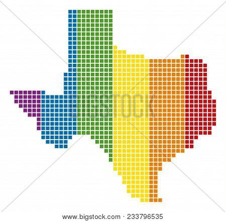 A Dotted Lgbt Texas Map For Lesbians, Gays, Bisexuals, And Transgenders. Vector Geographic Map In Lg