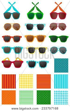 Colorful Sunglasses With Coordinating Background Patterns. Vector Illustration, Clipart.