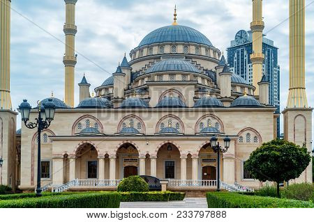 Beautiful View Of Akhmad Kadyrov Mosque Or The Heart Of Chechnya In Grozny, Chechnya, Russia.