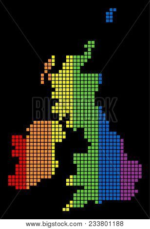A Dotted Lgbt Pride Great Britain And Ireland Map For Lesbians, Gays, Bisexuals, And Transgenders. M