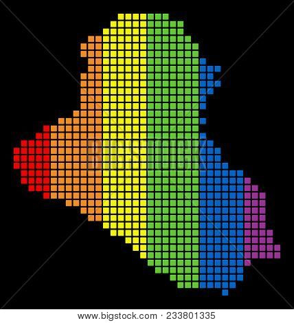 A Dotted Lgbt Pride Iraq Map For Lesbians, Gays, Bisexuals, And Transgenders. Spectrum Vector Abstra