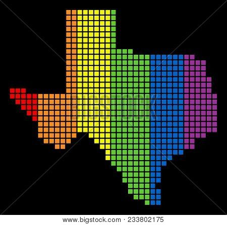 A Dotted Lgbt Pride Texas Map For Lesbians, Gays, Bisexuals, And Transgenders. Color Vector Abstract