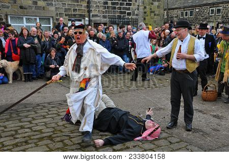 Heptonstall, Uk - March 20 2018. Actors In The Traditional Good Friday Easter Pace Egg Play In Hepto