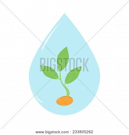 Clean Drop Of Water With Young Tree Inside It. Environment Paper Cut Illustration. Isolated On White