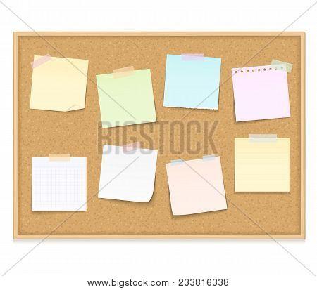 Eight Blank Paper Notes On Bulletin Board, Vector Eps10 Illustration