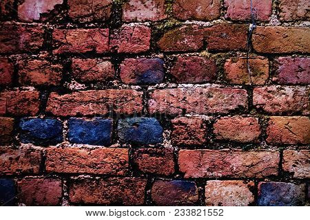 Old Red Brick Wall Texture. Brick Wall Painted In Bright Colors