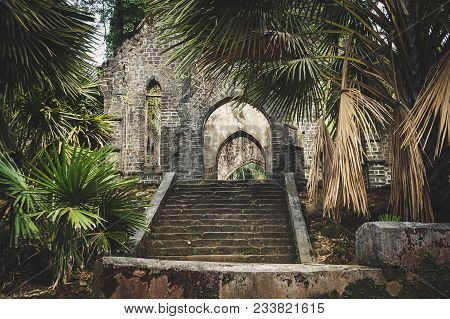 Old Presbyterian Church Ruins Ross Island, Port Blair, Andaman And Nicobar India. The Old Abandoned