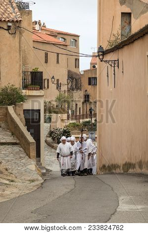 Monticello, Corsica - 30th March 2018 - Men & Women Of The Village Of Monticello In The Balagne Regi