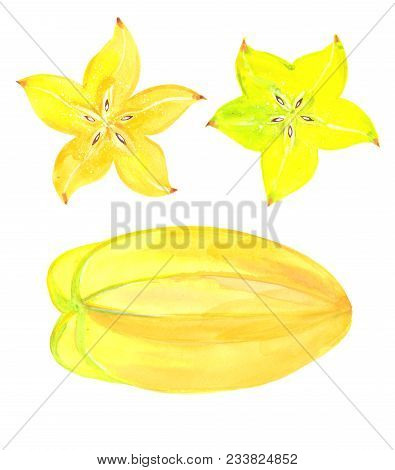 Set With Carambola, Watercolor Illustration  On White Background