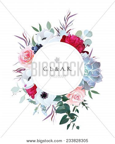 Round Floral Label Frame Arranged From Leaves And Flowers.pink Rose, White Anemone, Black Berry, Bur