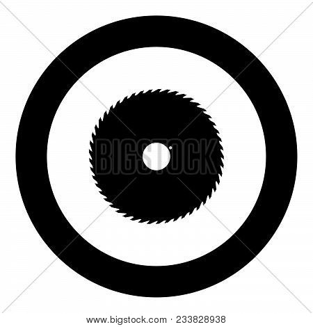 Circular Saw Blade Black Icon In Circle Vector Illustration Isolated Flat Style .