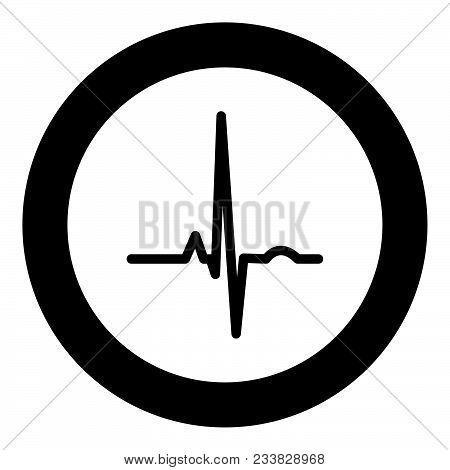 Heart Rhythm Ekg Black Icon In Circle Vector Illustration Isolated Flat Style .