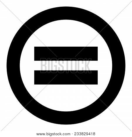 Sign Equally Black Icon In Circle Vector Illustration Isolated Flat Style .