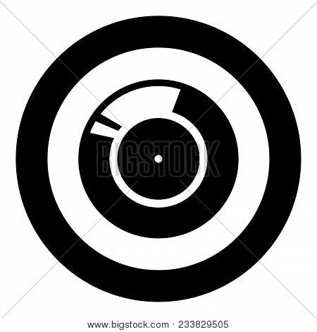 Vinyl Record. Retro Sound Carrier Black Icon In Circle Vector Illustration Isolated Flat Style .