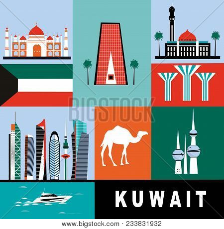 Collection Of Kuwait City Symbols In Bright Colors
