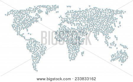 Worldwide Mosaic Map Organized Of Buzzer Items. Vector Buzzer Scattered Flat Items Are United Into M