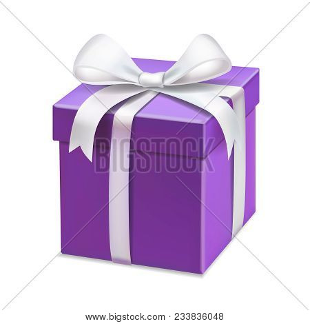 Realistic Purple Gift Box With White Ribbon For Anniversary, Valentines. Isolated Vector Illustratio