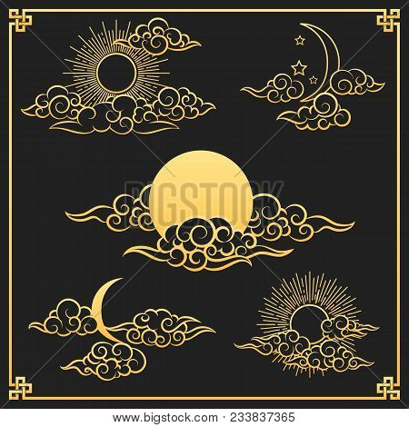 Oriental Clouds, Sun And Moon. Gold Sun And Moon With Clouds In Old Decorative Traditional Asian Or