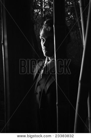 Mysterious Man In Shadows, Black And White