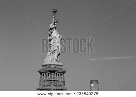 Statue Of Liberty And New York Skyscraper Monochrome