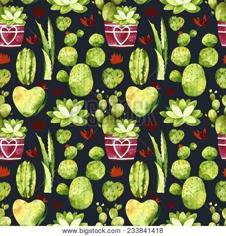Watercolor Cactus Seamless Pattern On A Black Background. Pattern With Cactus, Succulents, Cactus In