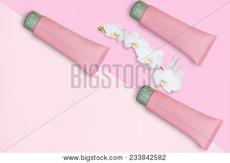Cosmetics Products, Cosmetic Set In Spa Concept Pink Branding Mock-up, Top View,