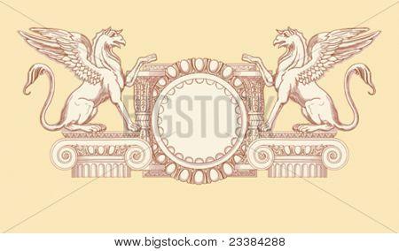 Vintage emblem. Hand draw sketch ionic architectural order based