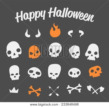 Vector Funny Crooked Skulls With Different Decor Elements For Halloween Decoration. Cool And Scary D