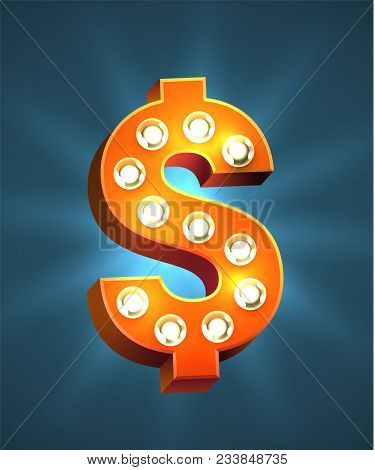 Red Retro Casino Marquee Vector Dollar Sign. Bright Usd Symbol With Old Style Light Bulbs.