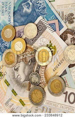 Polish Zloty (pln) Paper Currency Banknotes And Coins. Financial Background. Concept Economy And Fin